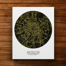 Load image into Gallery viewer, Mapospheres Moscow Night round shape design canvas city map
