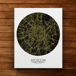 Mapospheres Moscow Night round shape design canvas city map