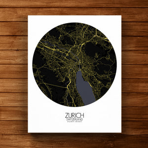 Mapospheres zurich Night round shape design canvas city map