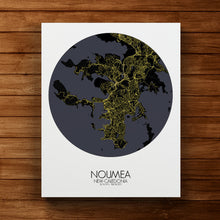 Load image into Gallery viewer, Mapospheres Noumea Night round shape design canvas city map