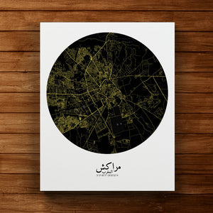 Mapospheres Marrakesh Night round shape design canvas city map