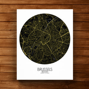 Mapospheres brussels Night round shape design canvas city map