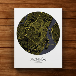 Mapospheres Montreal Night round shape design canvas city map
