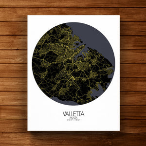 Mapospheres valletta Night round shape design canvas city map