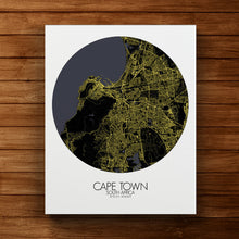 Load image into Gallery viewer, Mapospheres Cape Town Night round shape design canvas city map