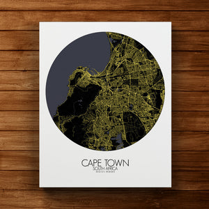 Mapospheres Cape Town Night round shape design canvas city map