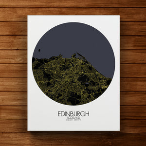 Mapospheres Edinburgh Night round shape design canvas city map