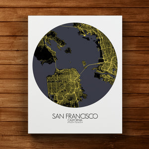 Mapospheres San Francisco Night round shape design canvas city map