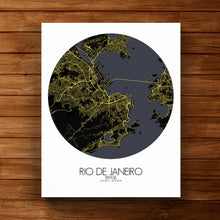 Load image into Gallery viewer, Mapospheres Rio de Janeiro Night round shape design canvas city map