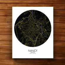 Load image into Gallery viewer, Mapospheres Nancy Night round shape design canvas city map