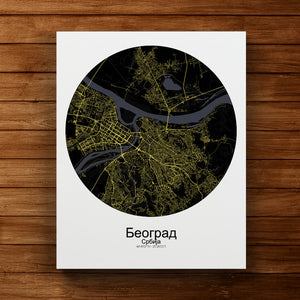 Mapospheres Belgrade Night round shape design canvas city map