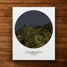 Load image into Gallery viewer, Mapospheres Casablanca Night round shape design canvas city map