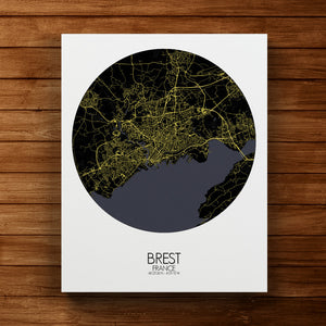 Mapospheres Brest Night round shape design canvas city map