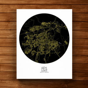 Mapospheres fez Night round shape design canvas city map