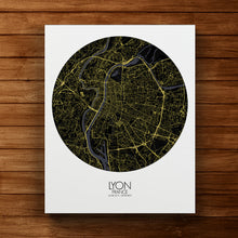 Load image into Gallery viewer, Mapospheres Lyon Night round shape design canvas city map
