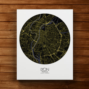 Mapospheres Lyon Night round shape design canvas city map