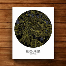 Load image into Gallery viewer, Mapospheres bucharest Night round shape design canvas city map