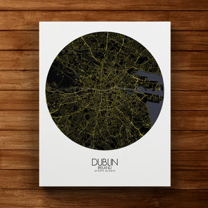Mapospheres dublin Night round shape design canvas city map