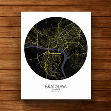 Load image into Gallery viewer, Mapospheres Bratislava Night round shape design canvas city map