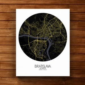 Mapospheres Bratislava Night round shape design canvas city map