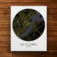 Load image into Gallery viewer, Mapospheres Quebec Night round shape design canvas city map
