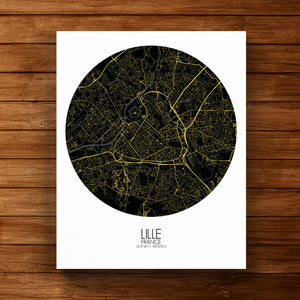 Mapospheres Lille Night round shape design canvas city map