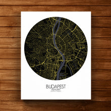 Load image into Gallery viewer, Mapospheres budapest Night round shape design canvas city map