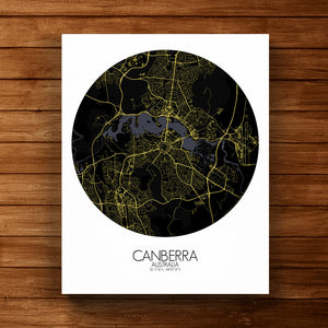 Mapospheres Canberra Night round shape design canvas city map