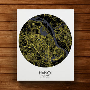 Mapospheres Hanoi Night round shape design canvas city map