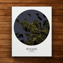 Load image into Gallery viewer, Mapospheres reykjavik Night round shape design canvas city map