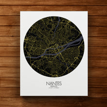 Load image into Gallery viewer, Mapospheres Nantes Night round shape design canvas city map