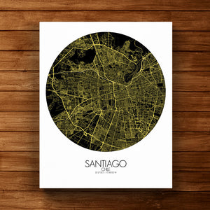 Mapospheres Santiago Night round shape design canvas city map