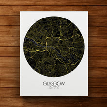 Load image into Gallery viewer, Mapospheres Glasgow Night round shape design canvas city map