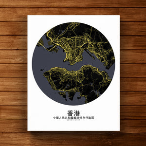 Mapospheres Hong Kong Night round shape design canvas city map