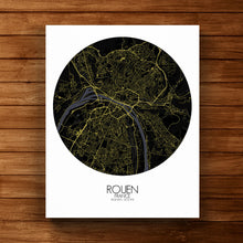 Load image into Gallery viewer, Mapospheres Rouen Night round shape design canvas city map