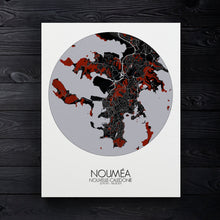 Load image into Gallery viewer, Mapospheres Noumea Red dark round shape design canvas city map