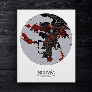Mapospheres Noumea Red dark round shape design canvas city map