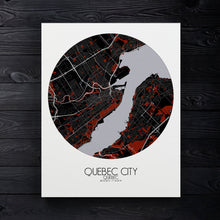 Load image into Gallery viewer, Mapospheres Quebec Red dark round shape design canvas city map
