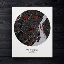 Load image into Gallery viewer, Mapospheres Montreal Red dark round shape design canvas city map