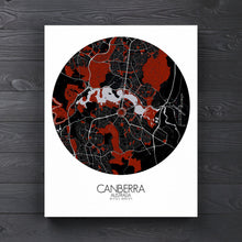 Load image into Gallery viewer, Mapospheres Canberra Red dark round shape design canvas city map