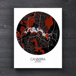 Mapospheres Canberra Red dark round shape design canvas city map