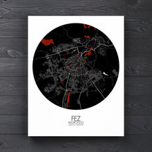 Load image into Gallery viewer, Mapospheres fez Red Dark round shape design canvas city map