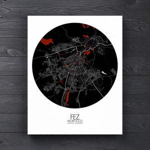 Mapospheres fez Red Dark round shape design canvas city map