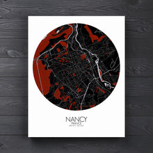 Load image into Gallery viewer, Mapospheres Nancy Red dark round shape design canvas city map