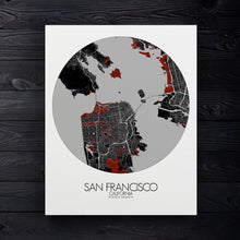 Load image into Gallery viewer, Mapospheres San Francisco Red dark round shape design canvas city map