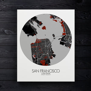 Mapospheres San Francisco Red dark round shape design canvas city map