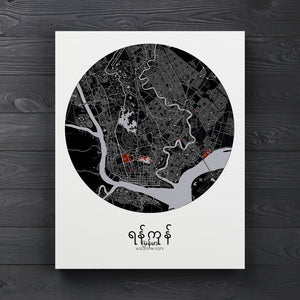 Mapospheres yangon Red Dark round shape design canvas city map