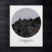 Load image into Gallery viewer, Mapospheres Casablanca Red dark round shape design canvas city map