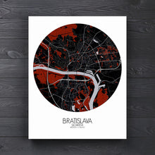 Load image into Gallery viewer, Mapospheres Bratislava Red dark round shape design canvas city map