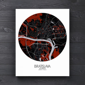 Mapospheres Bratislava Red dark round shape design canvas city map